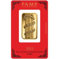 1 oz Gold Bar - PAMP Suisse Lunar Snake