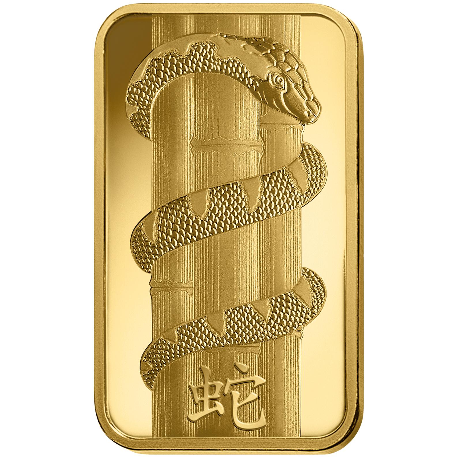 100 grammi lingottino d'oro - PAMP Suisse Lunar Serpente