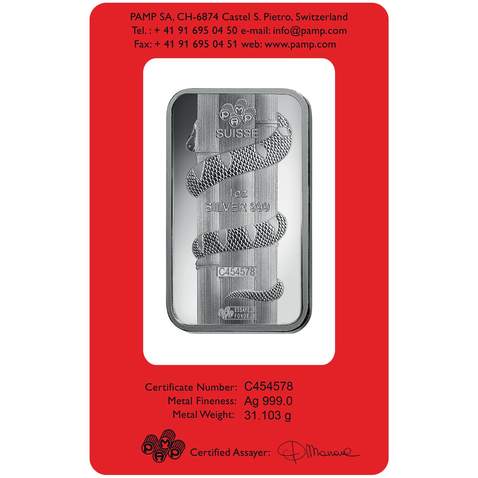 Lingotin d'argent de 1 once - PAMP Suisse Lunar Serpent