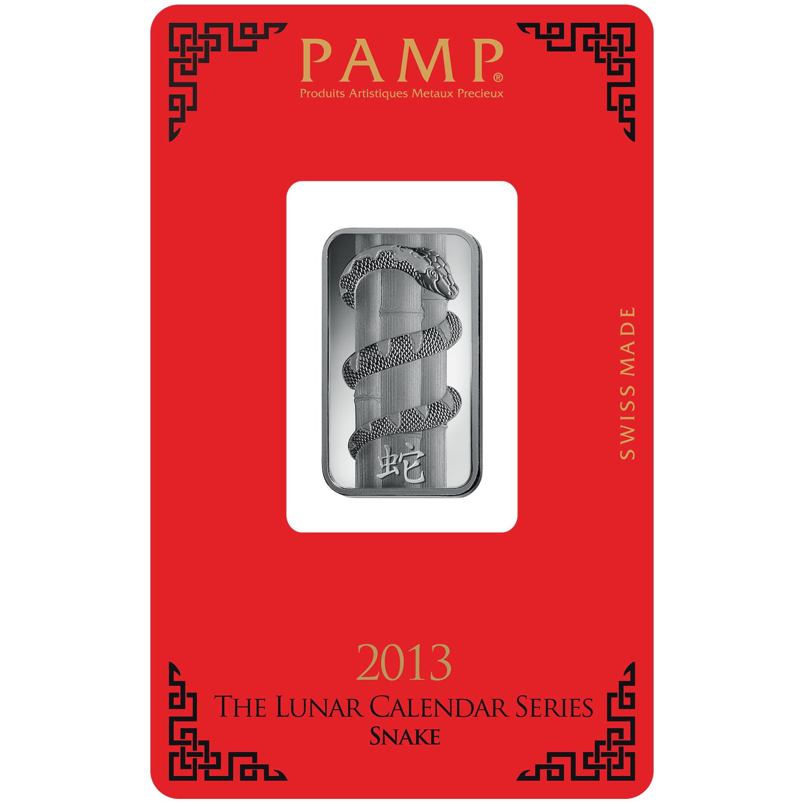 10 gram Silver Bar - PAMP Suisse Lunar Snake