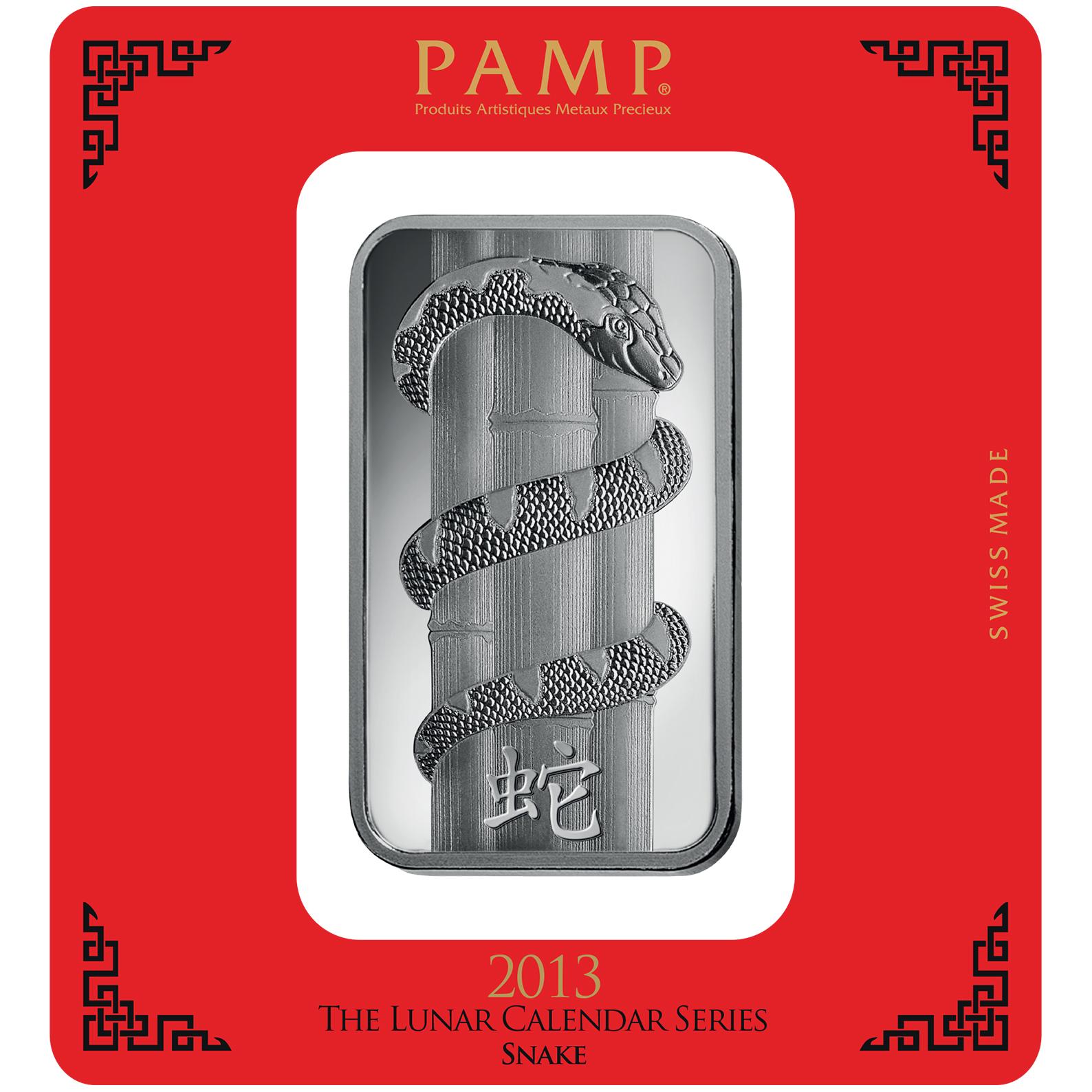 Lingotin d'argent de 100 grammes - PAMP Suisse Lunar Serpent
