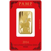 1 oz Gold Bar - PAMP Suisse Lunar Horse