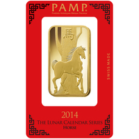 100 gram Gold Bar - PAMP Suisse Lunar Horse