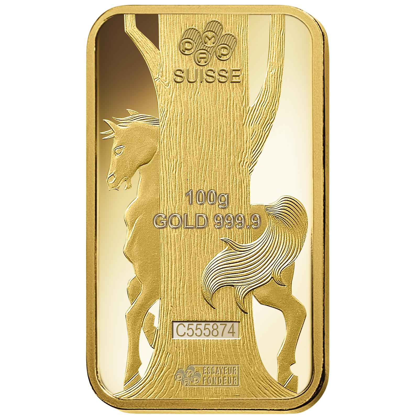 100 gram Fine Gold Bar 999.9 - PAMP Suisse Lunar Horse