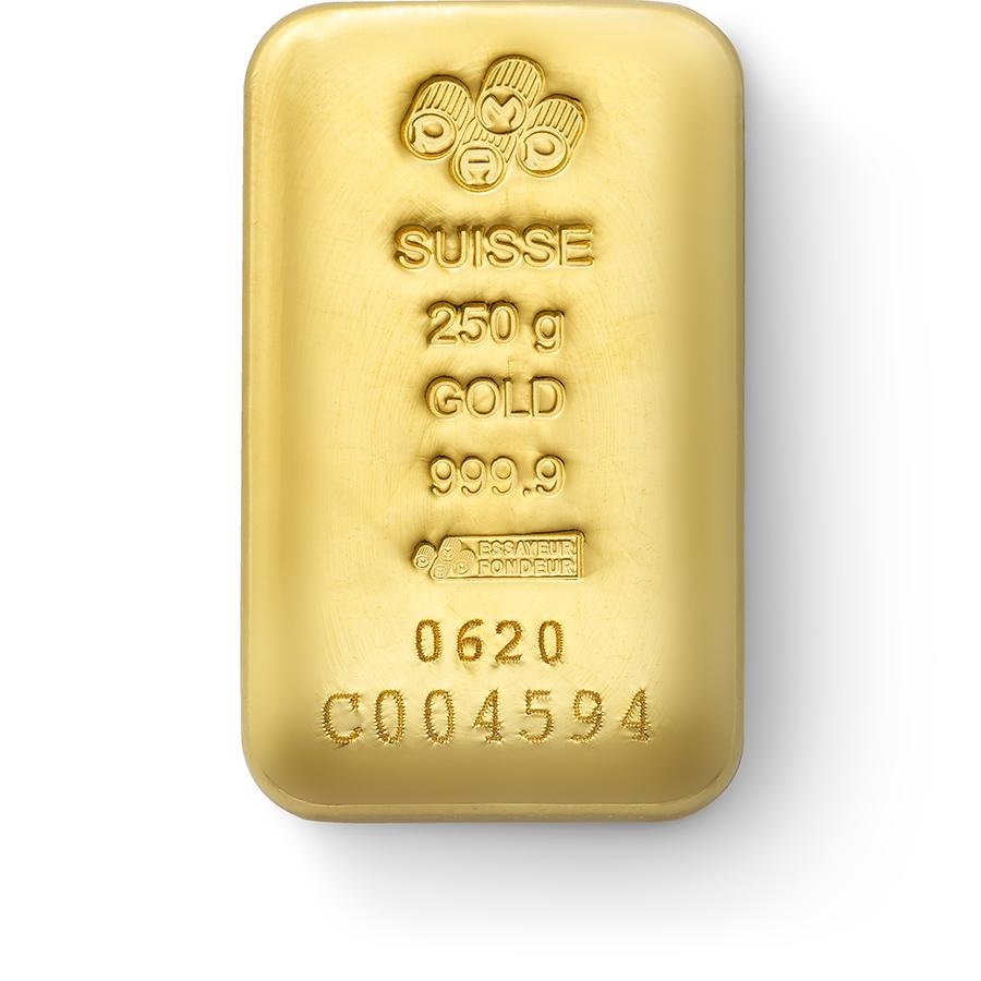 Acquistare 250 grammi lingotto d'oro puro 999.9 - PAMP Suisse - Front