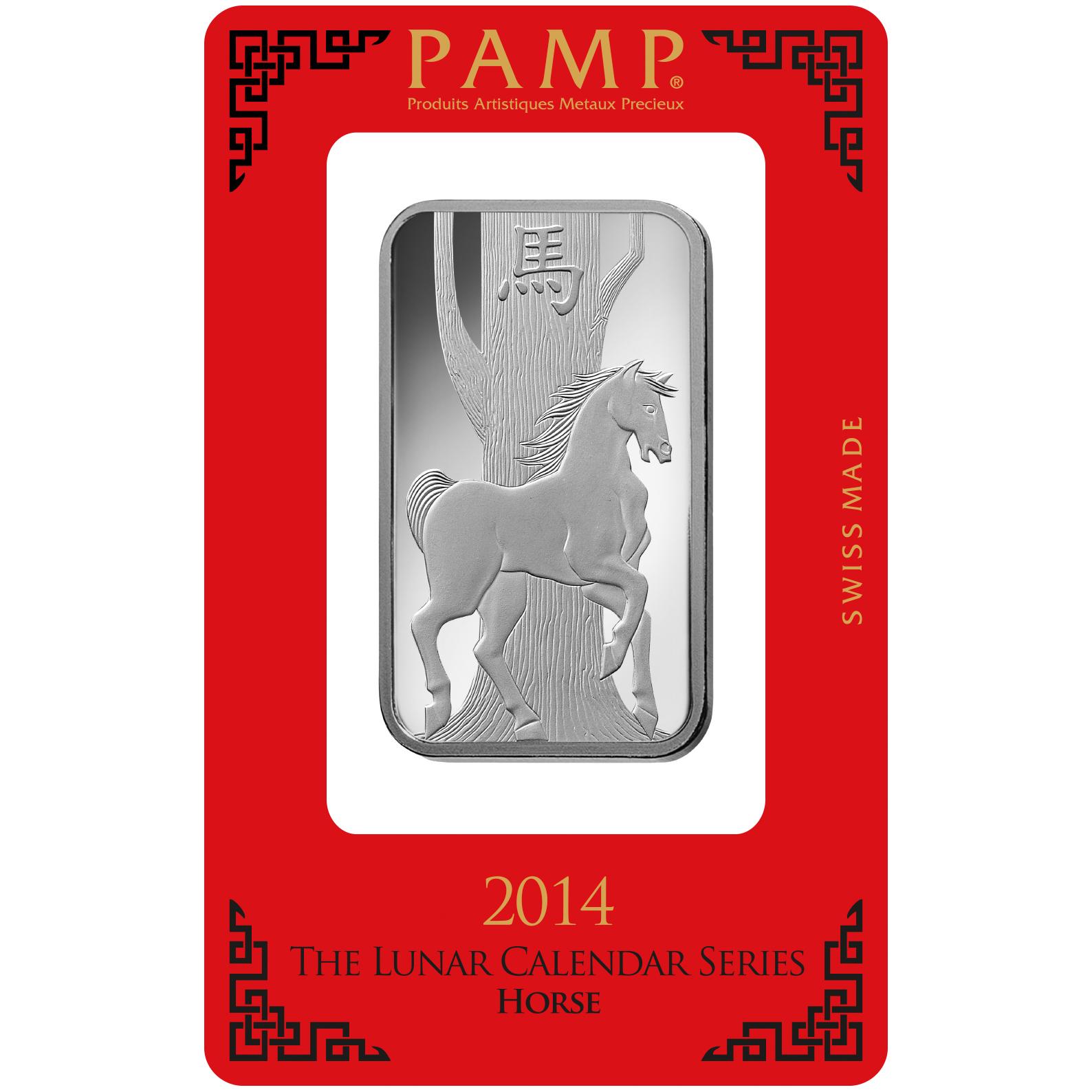 Lingotin d'argent de 1 once - PAMP Suisse Lunar Cheval