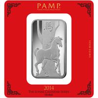 100 grammi lingottino d'argento - PAMP Suisse Cavallo Lunare
