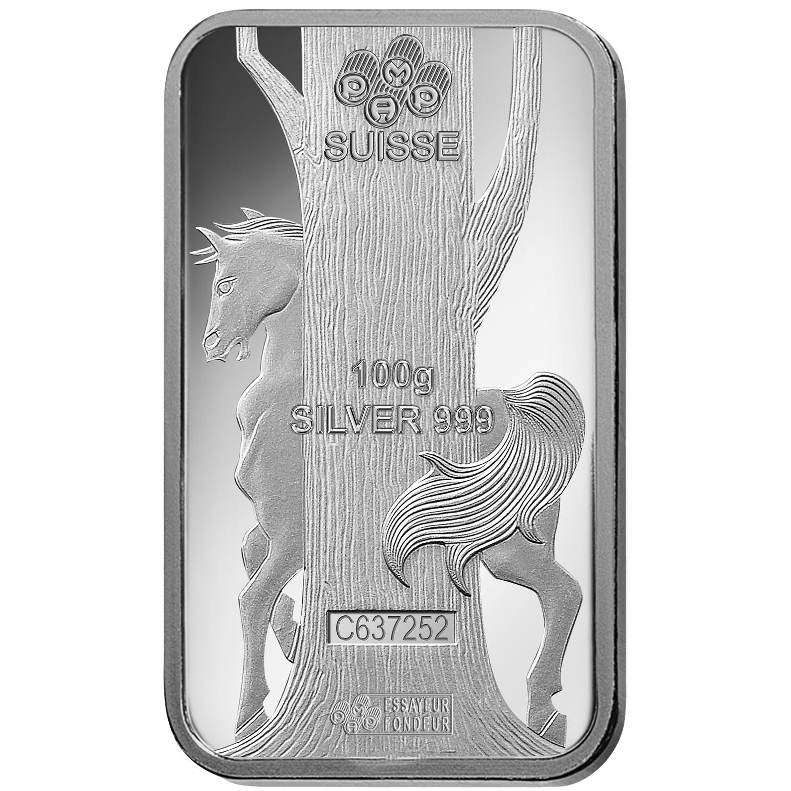 Lingotin d'argent de 100 grammes - PAMP Suisse Lunar Cheval