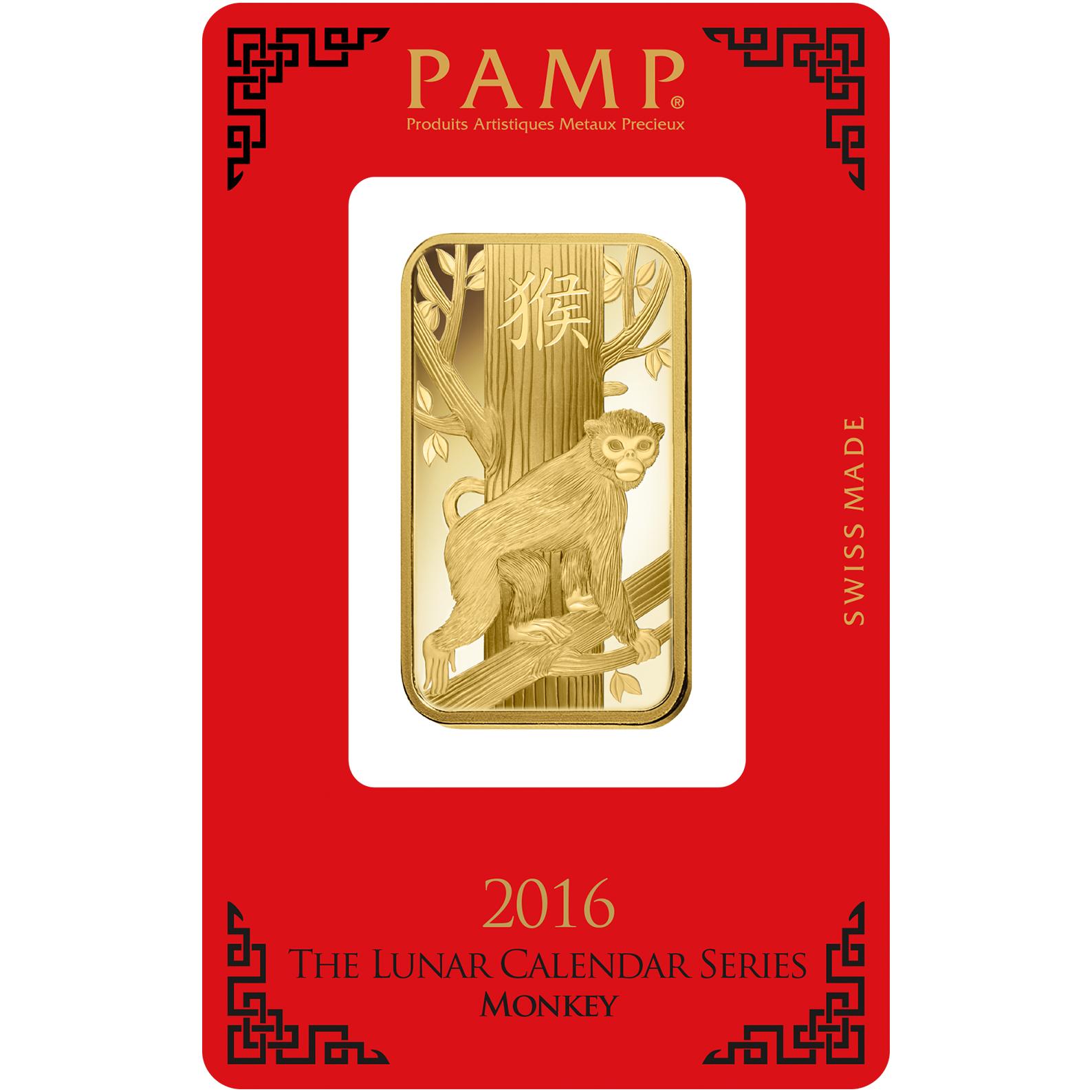 1 oz Fine Gold Bar 999.9 - PAMP Suisse Lunar Monkey