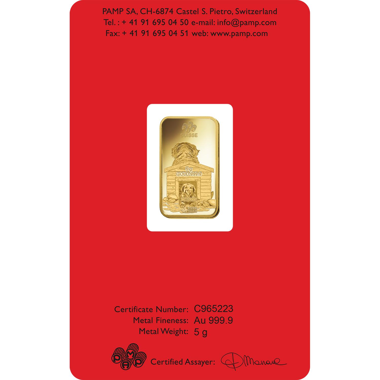 5 grammes lingotin d'or pur 999.9 - PAMP Suisse Lunar Chien