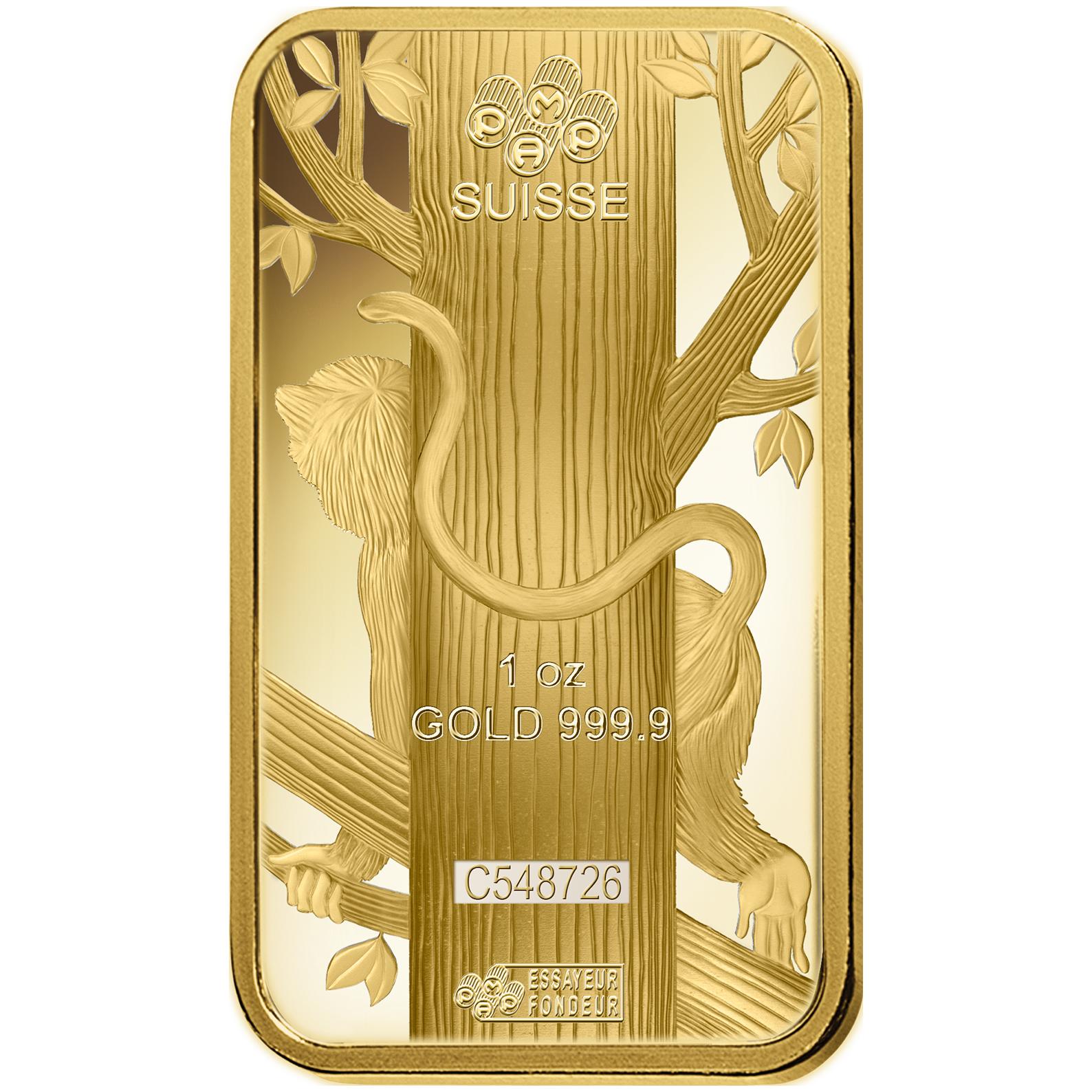 1 oz Gold Bar - PAMP Suisse Lunar Monkey