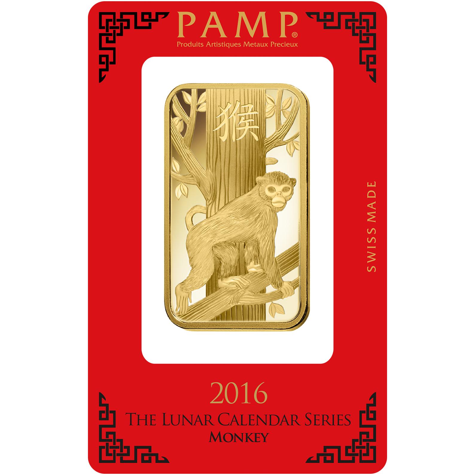 100 grammi lingottino d'oro puro 999.9 - PAMP Suisse Lunar Scimmia