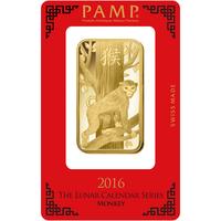 100 gram Gold Bar - PAMP Suisse Lunar Monkey