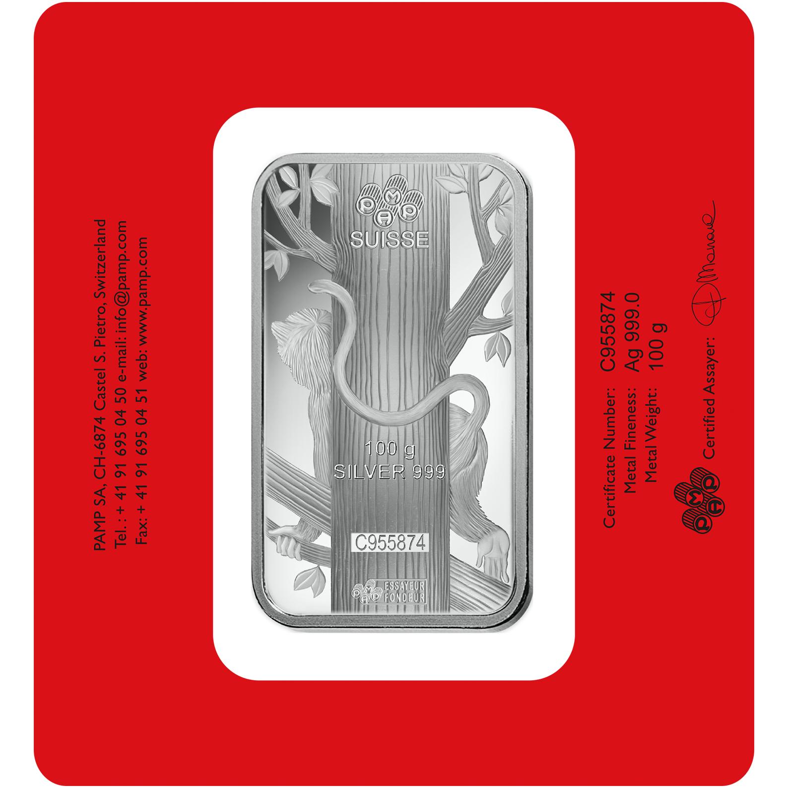 Lingotin d'argent de 100 grammes - PAMP Suisse Lunar Singe