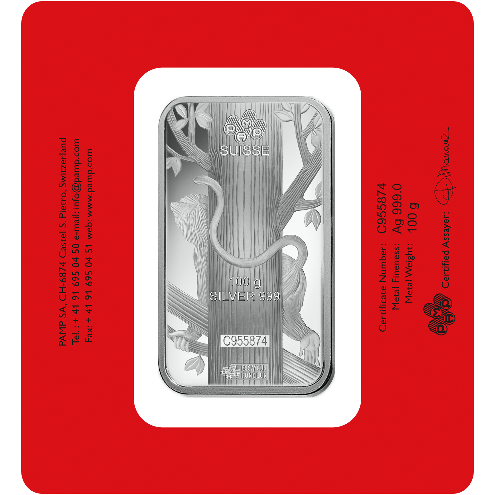 100 gram Fine Silver Bar 999.0 - PAMP Suisse Lunar Monkey