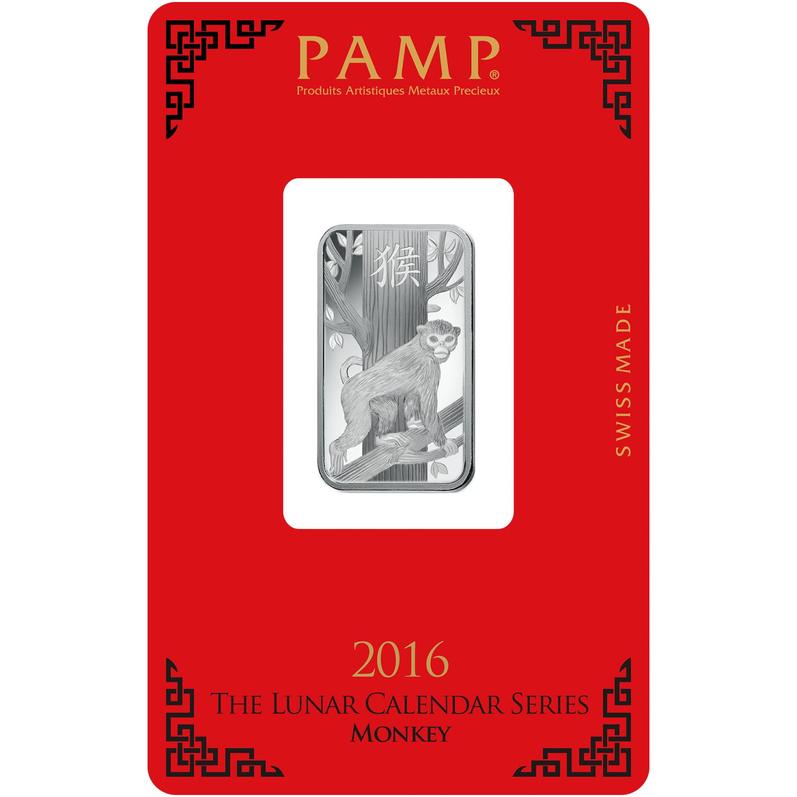 10 grammes lingotin d'argent - PAMP Suisse Lunar Singe