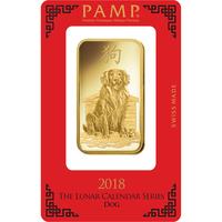 100 gram Gold Bar - PAMP Suisse Lunar Dog