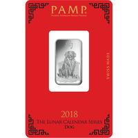 Lingotin d'argent de 10 grammes - PAMP Suisse Lunar Chien