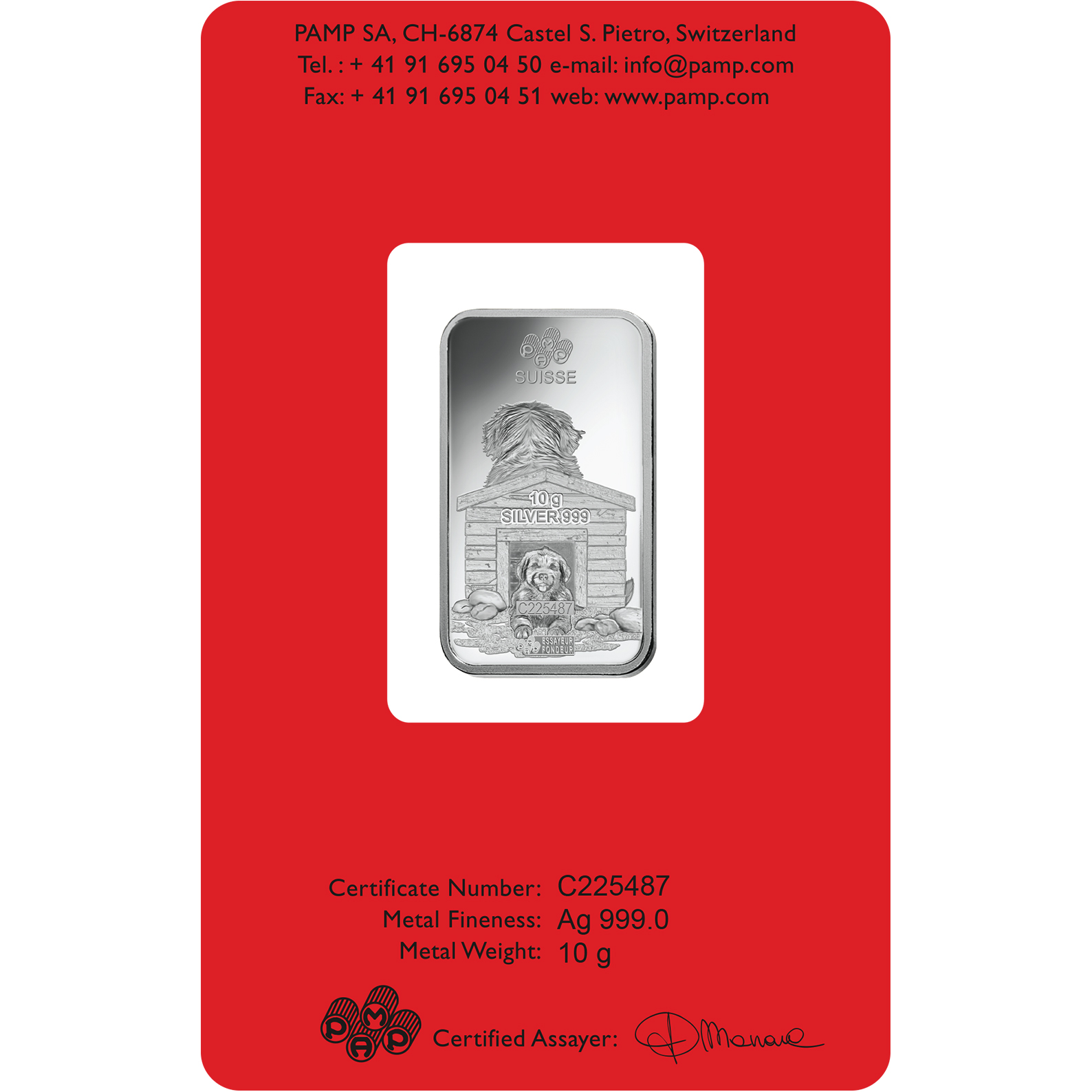 10 grammi lingottino d'argento - PAMP Suisse Lunar Cane