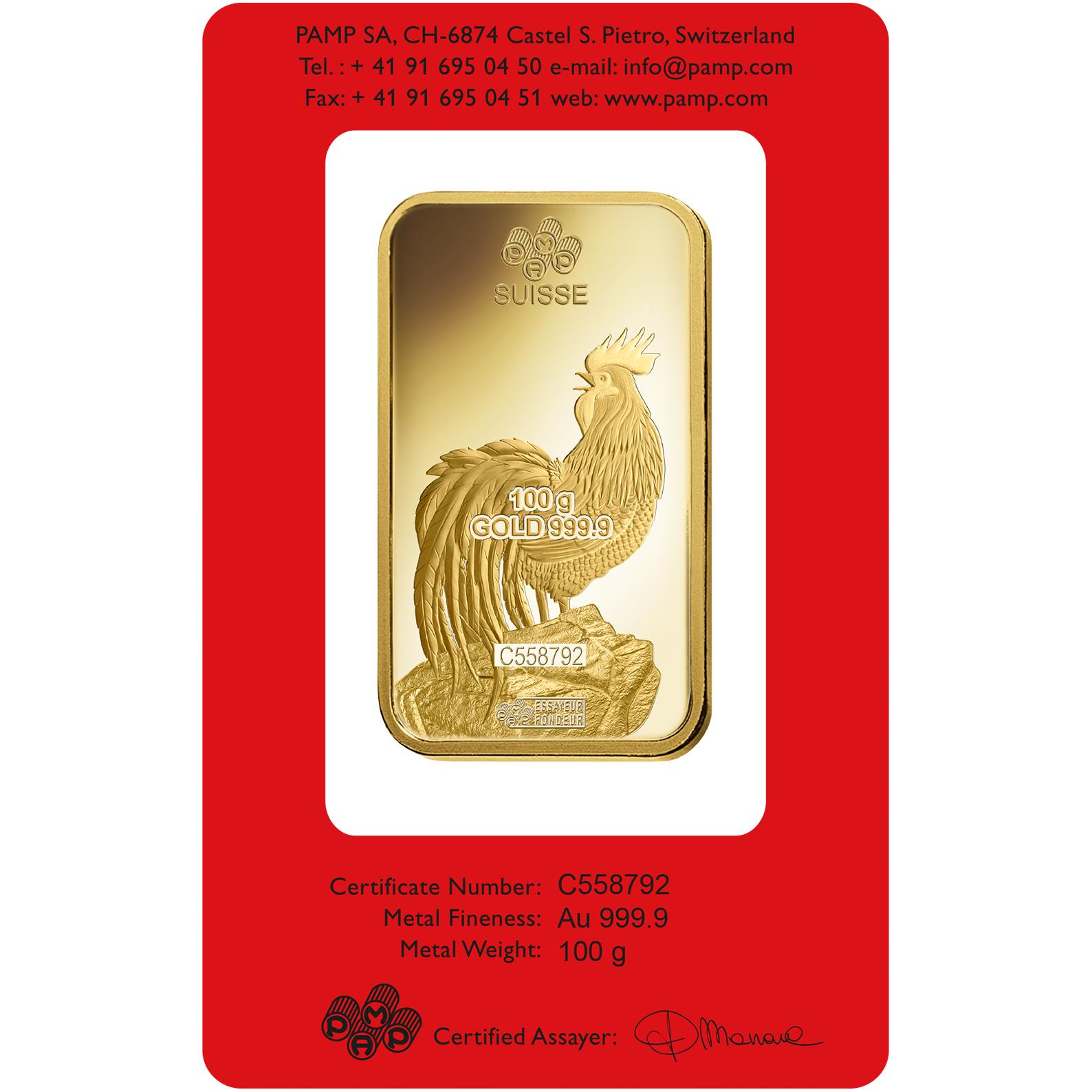100 grammes lingotin d'or pur 999.9 - PAMP Suisse Lunar Coq