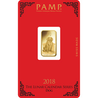 5 gram Gold Bar - PAMP Suisse Lunar Dog