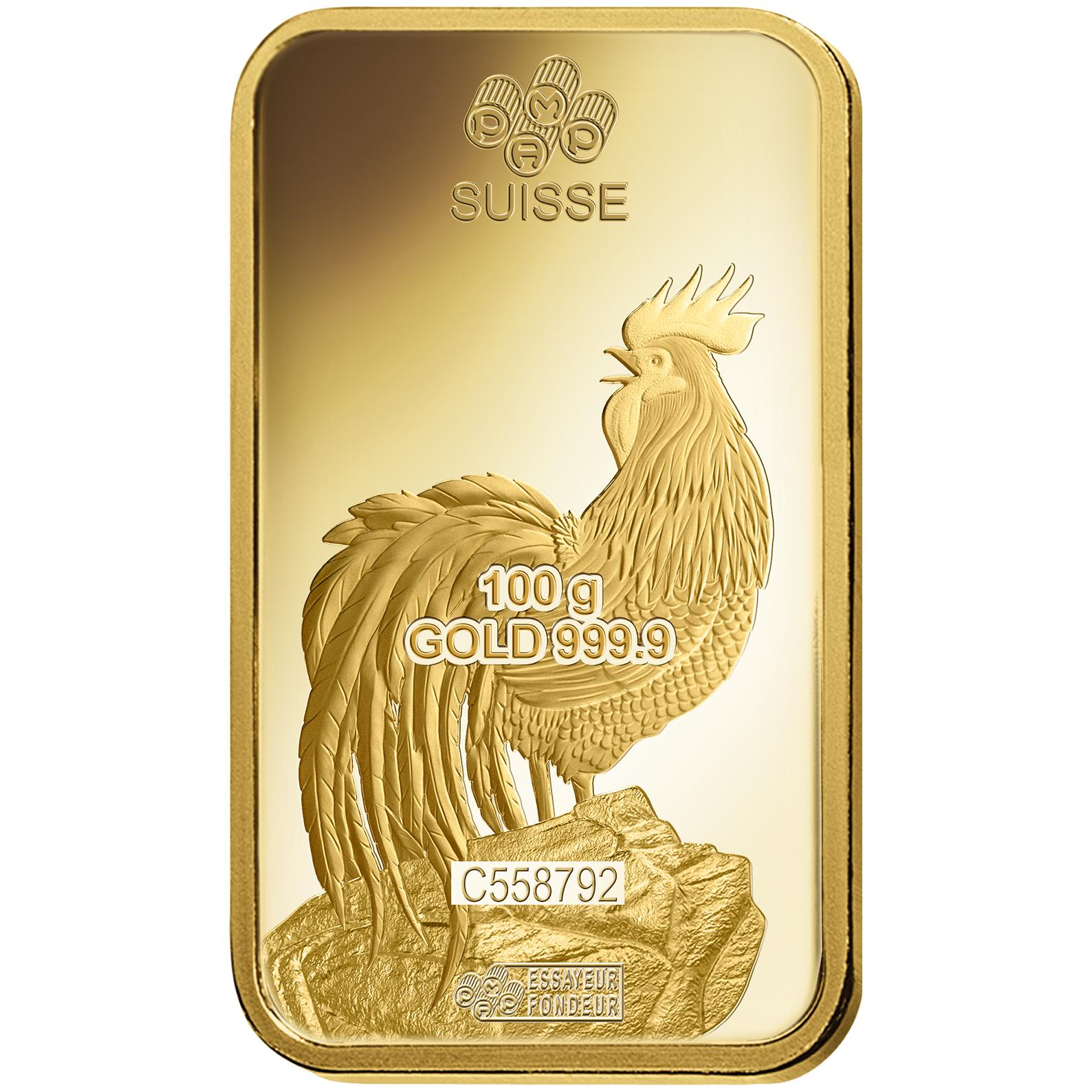 100 gram Gold Bar - PAMP Suisse Lunar Rooster