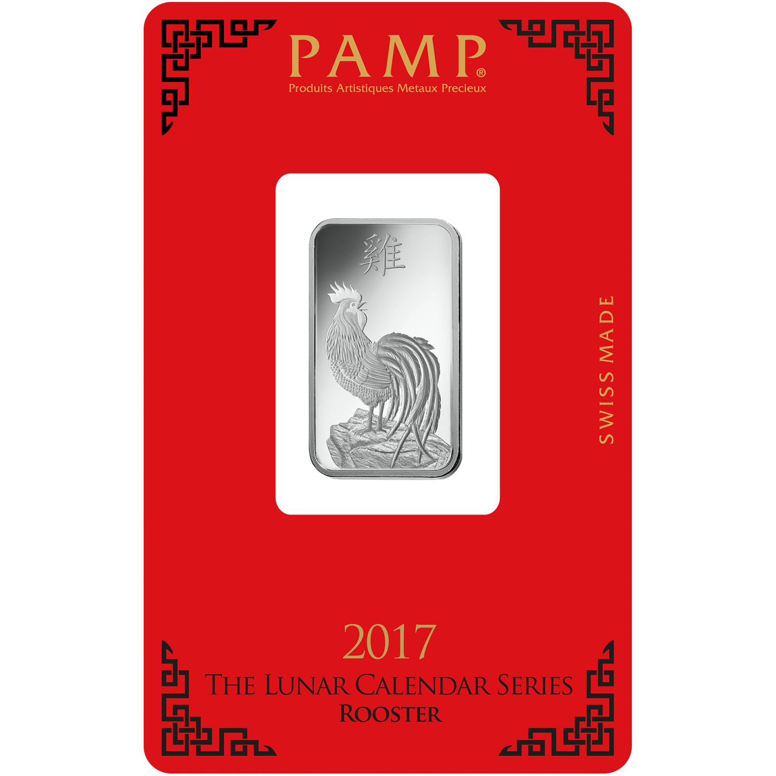10 gram Silver Bar - PAMP Suisse Lunar Rooster
