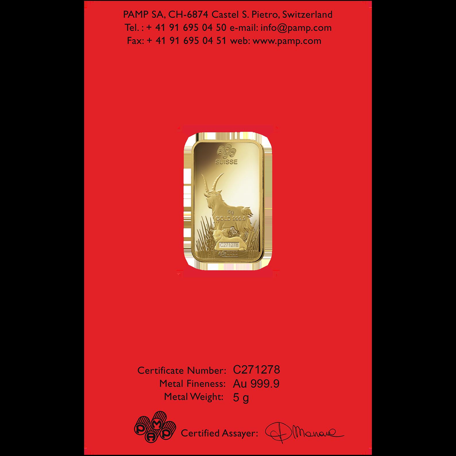 5 gram Fine Gold Bar 999.9 - PAMP Suisse Lunar Goat