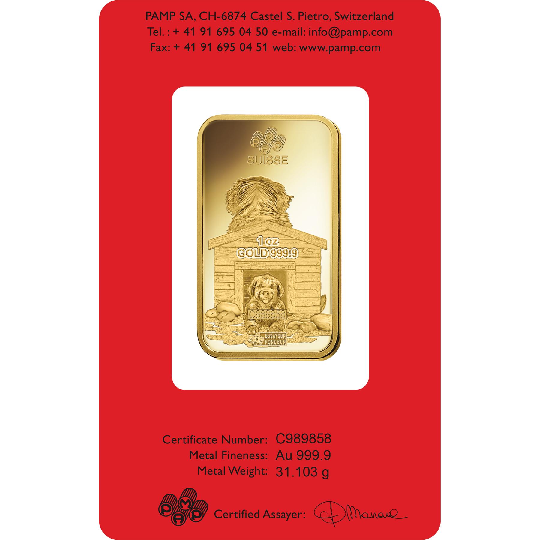 1 oz Fine Gold Bar 999.9 - PAMP Suisse Lunar Dog