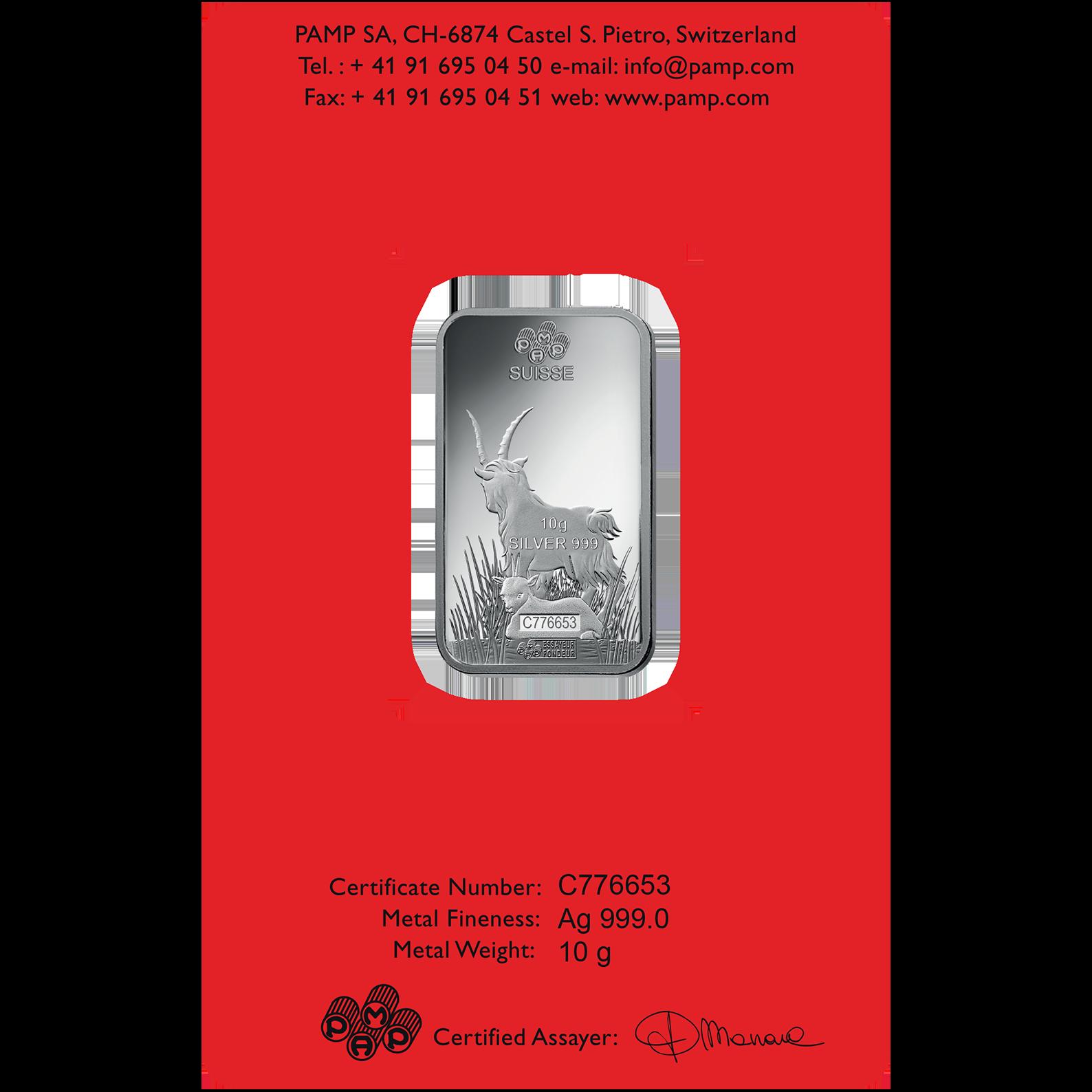10 grammes lingotin d'argent - PAMP Suisse Lunar Chèvre