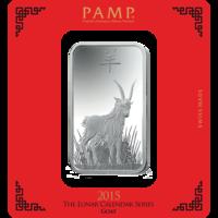 100 grammi lingottino d'argento - PAMP Suisse Capra Lunare