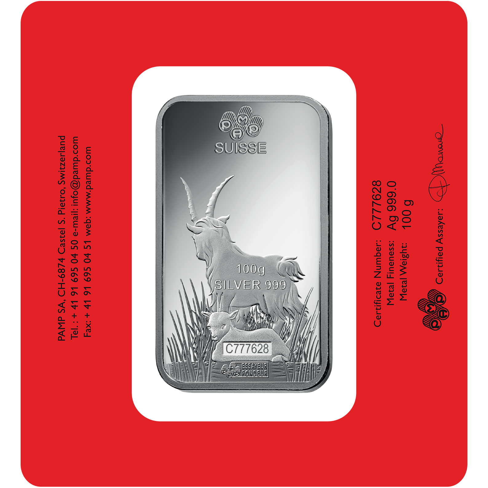 100 Gramm Silberbarren - PAMP Suisse Lunar Ziege