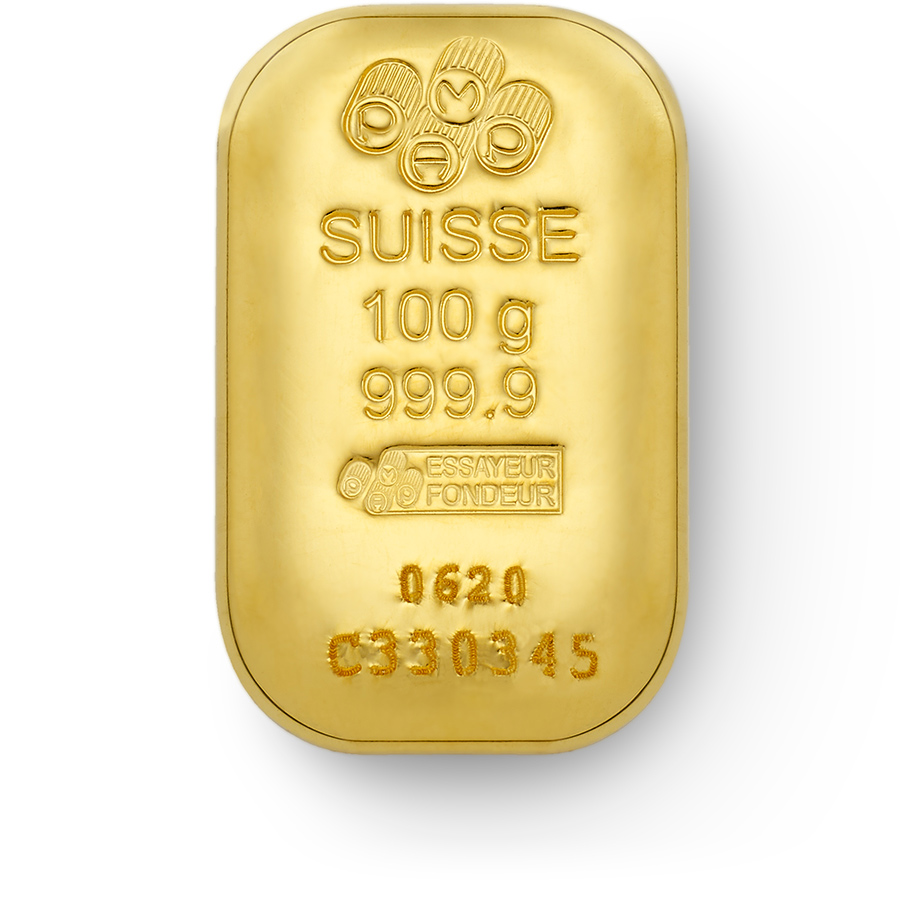 Invest in 100 grams Fine gold Cast Bar - PAMP Swiss - Front