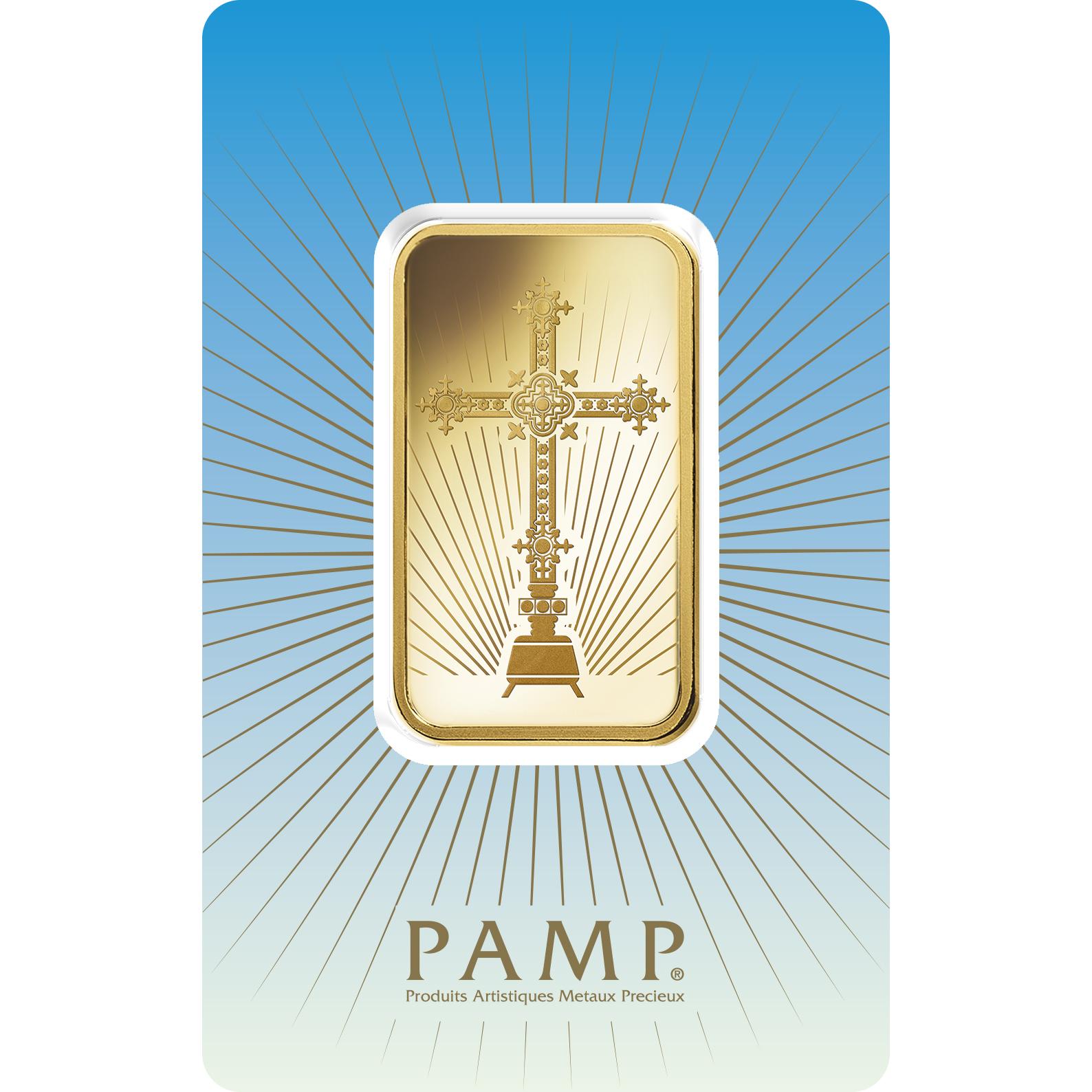 1 oz Gold Bar - PAMP Suisse Romanesque Cross