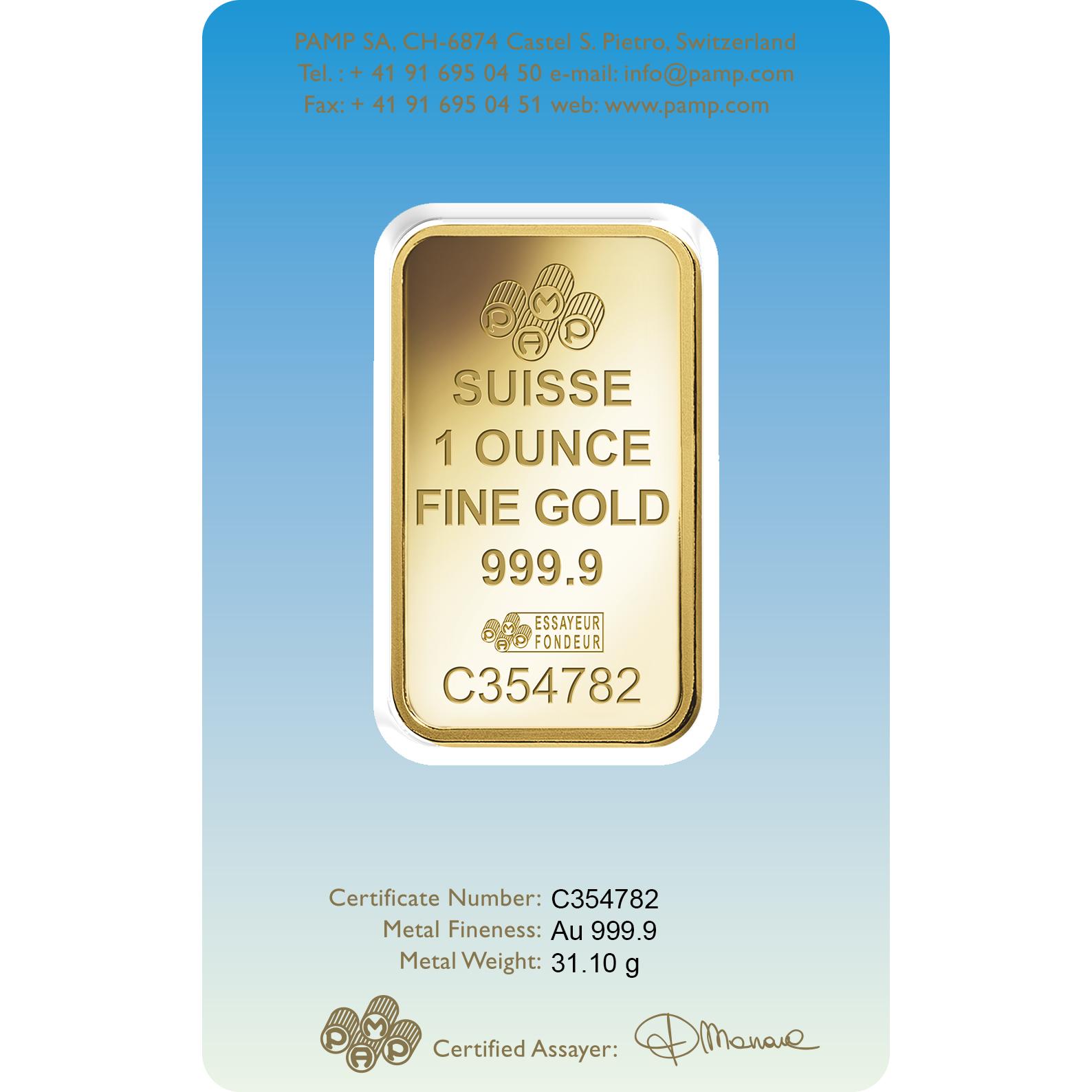 1 Unze Goldbarren - PAMP Suisse Römisches Kreuz