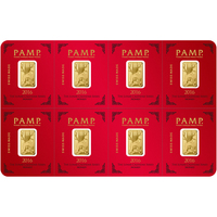 8 x 1 gram Gold Bar PAMP Suisse Lunar Monkey