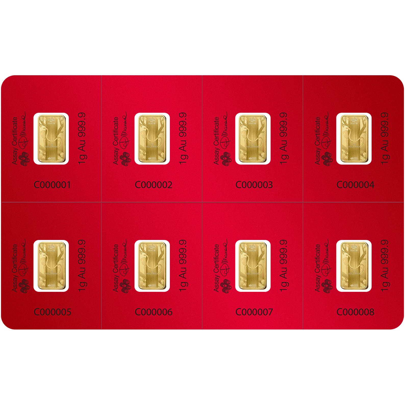 8x1 gram multigram Gold Bar - PAMP Suisse Lunar Monkey
