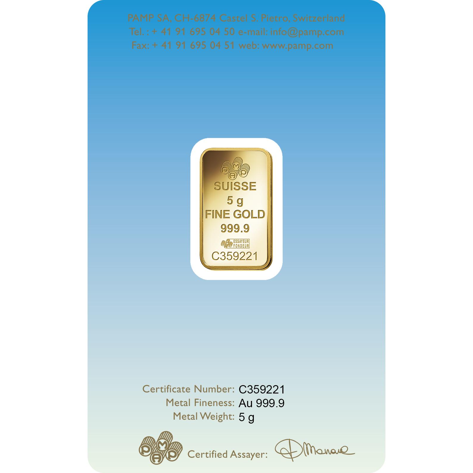 5 grammes lingotin d'or - PAMP Suisse Bouddha