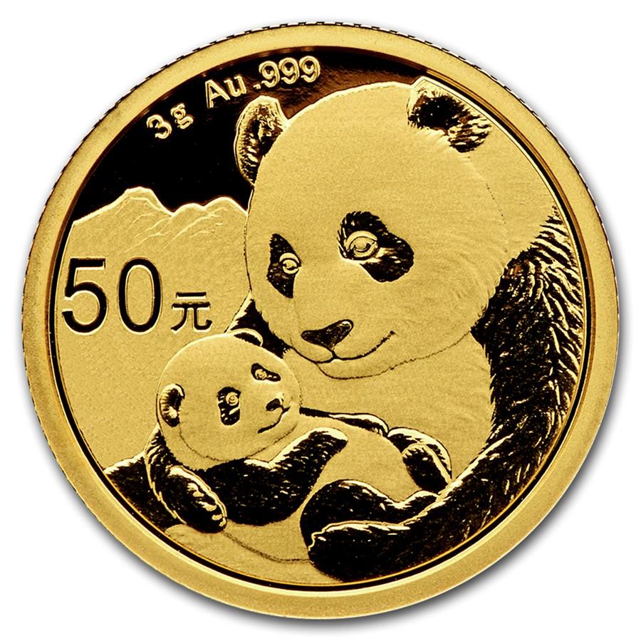 3 Gramm FeinGoldmünze 999.0 - Panda BU 2019