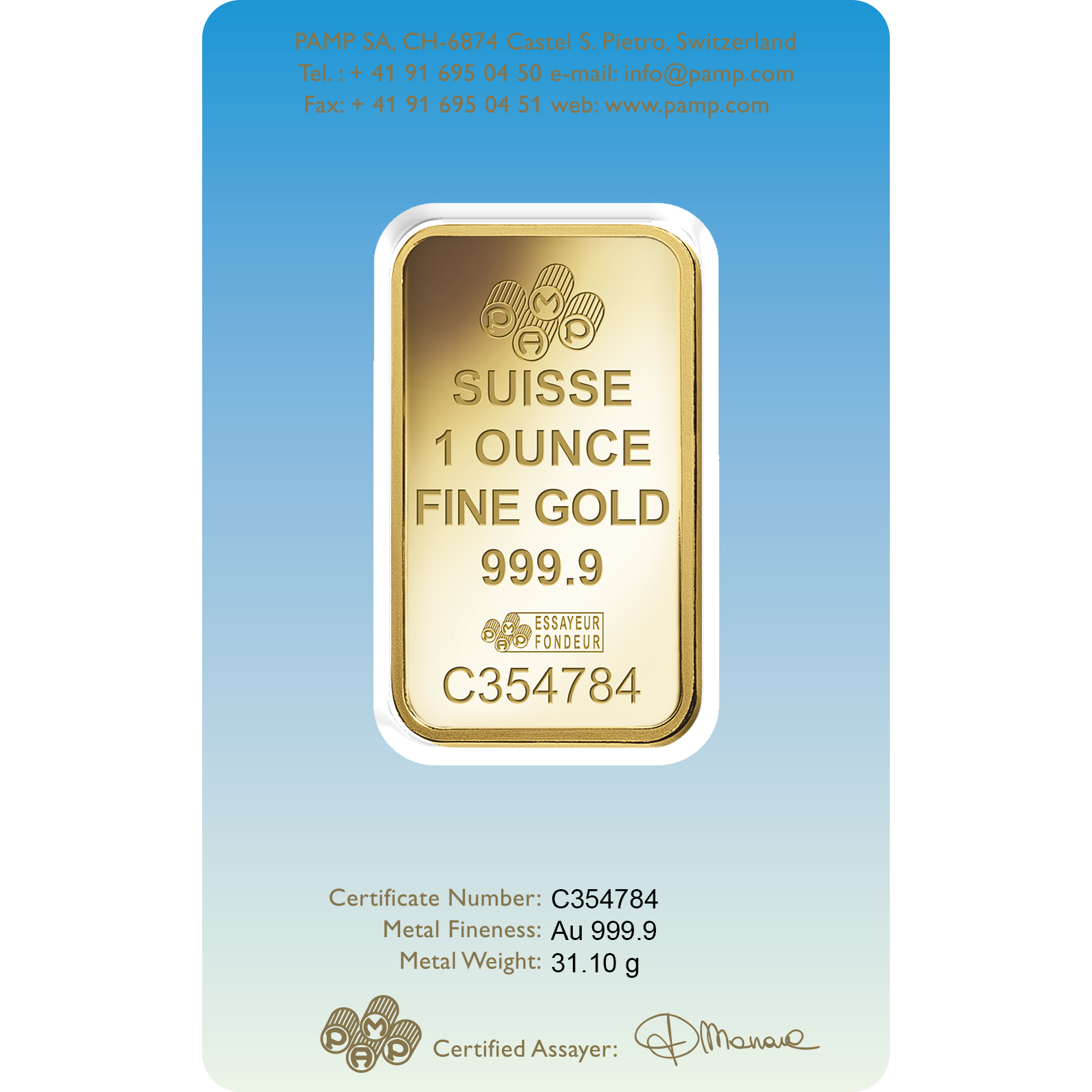 1 Unze Goldbarren - PAMP Suisse Lakshmi