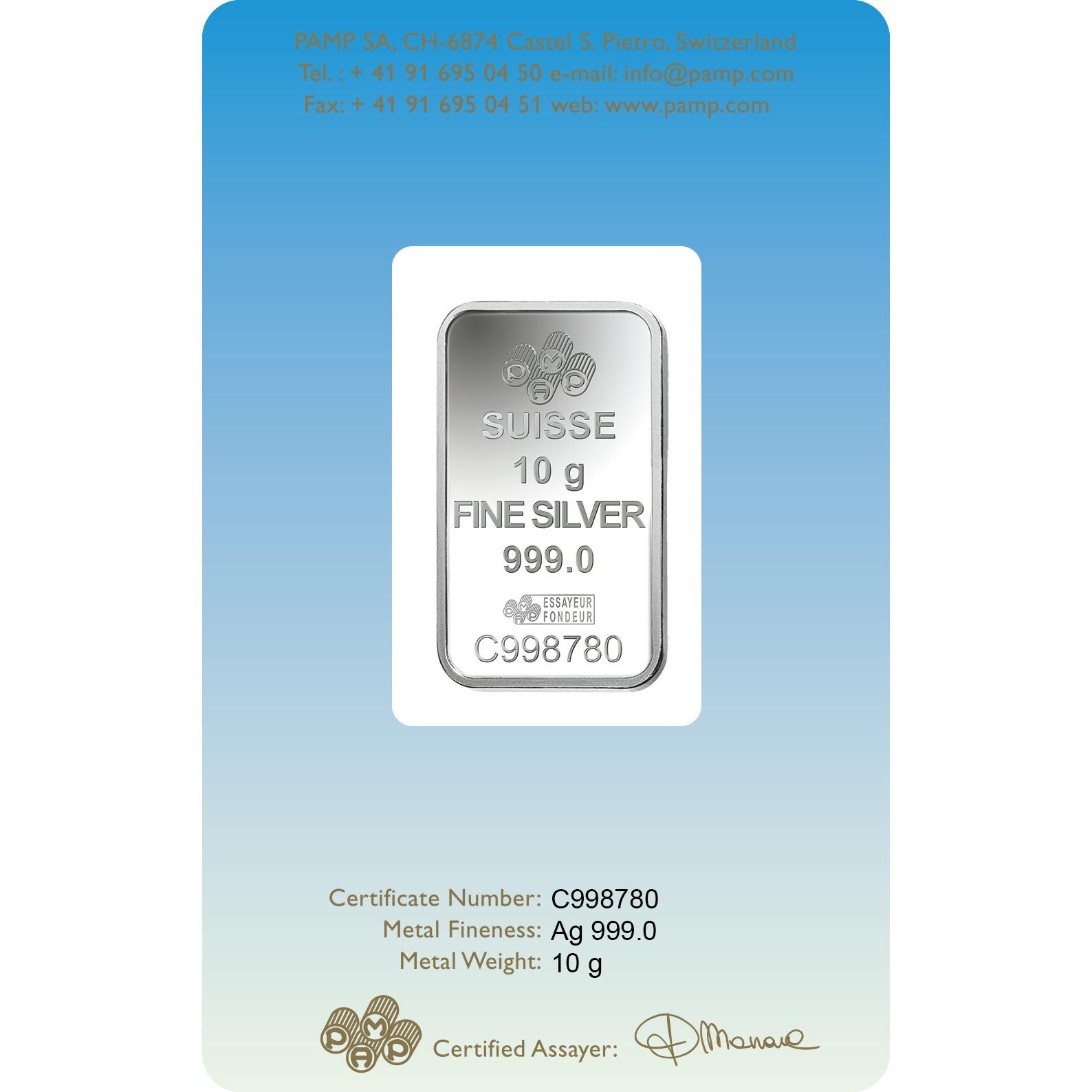 10 grammes lingotin d'argent - PAMP Suisse Lakshmi