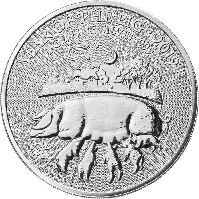 2019 Great Britain 1 oz Silver Year of the Pig BU