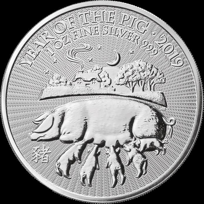 1 Unze Silbermünze - Lunar Jahr des Schweins BU 2019