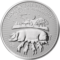 1 oz Silver Coin - Lunar Year of the Pig BU 2019