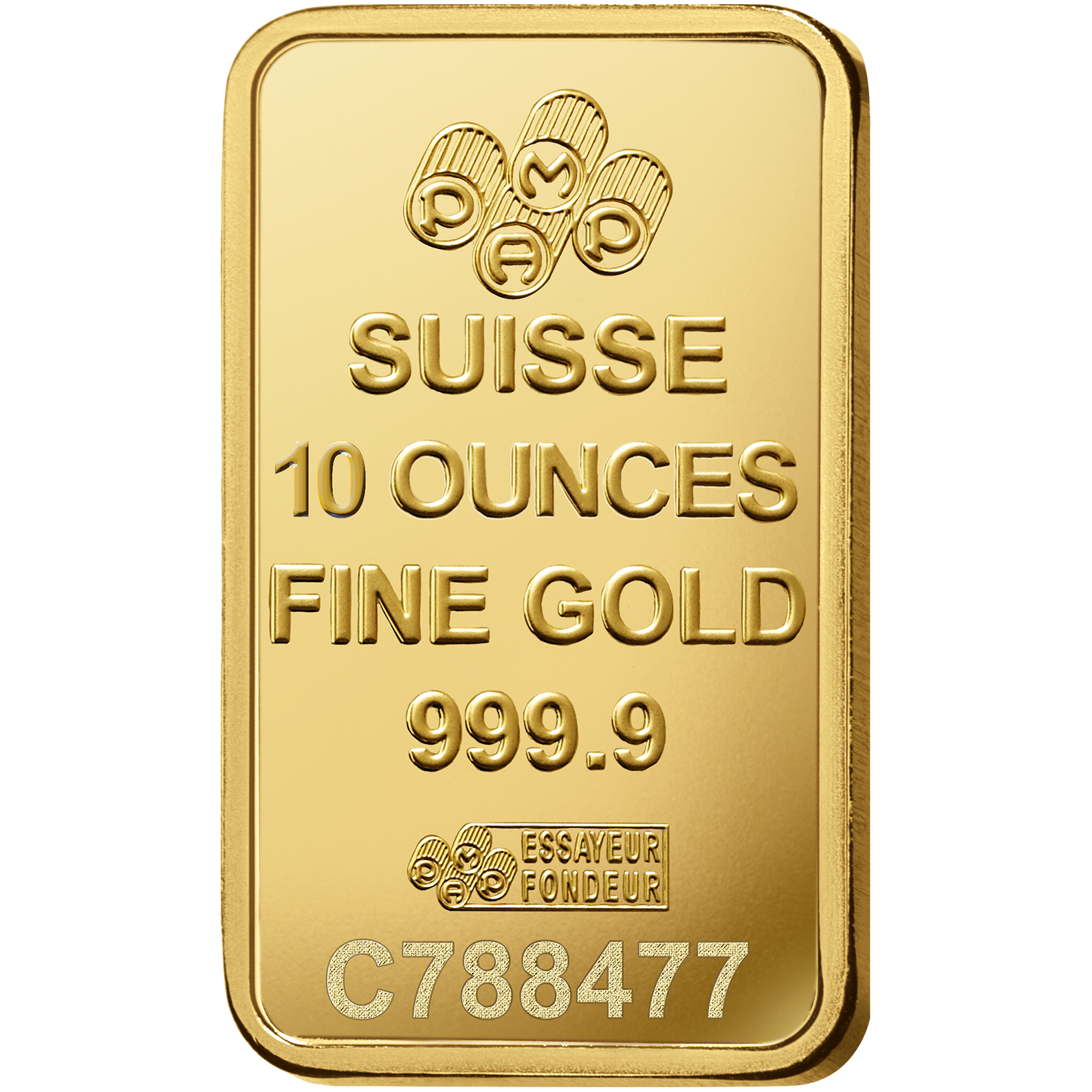 10 onces lingotin d'or pur 999.9 - PAMP Suisse Lady Fortuna