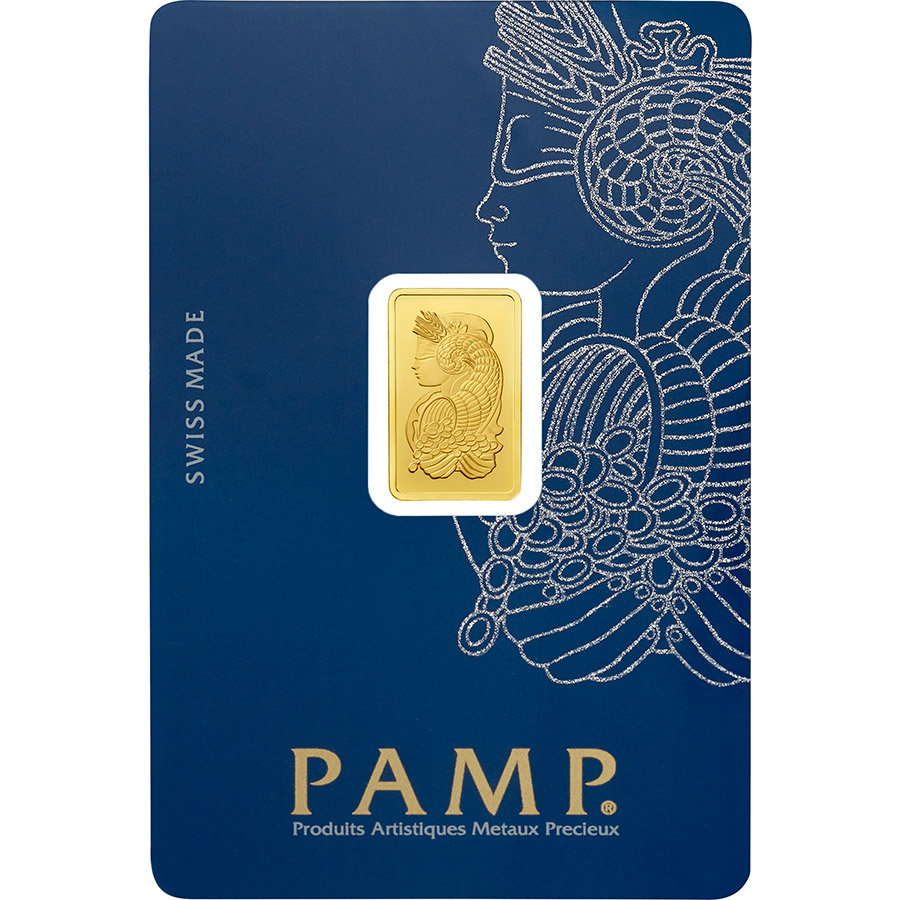2.5 gram Fine Gold Bar 999.9 - PAMP Suisse Lady Fortuna Veriscan