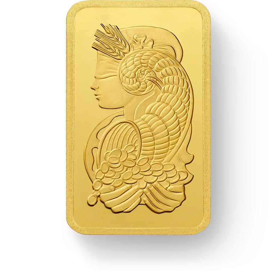 Investieren Sie in 50 Gramm FeinGoldbarren Lady Fortuna - PAMP Suisse - Front