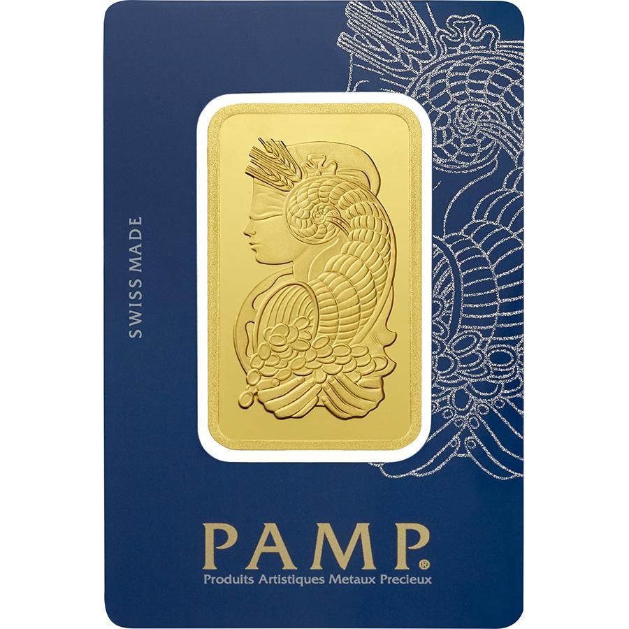 Kaufen Sie 50 Gramm FeinGoldbarren Lady Fortuna - PAMP Suisse - Veriscan