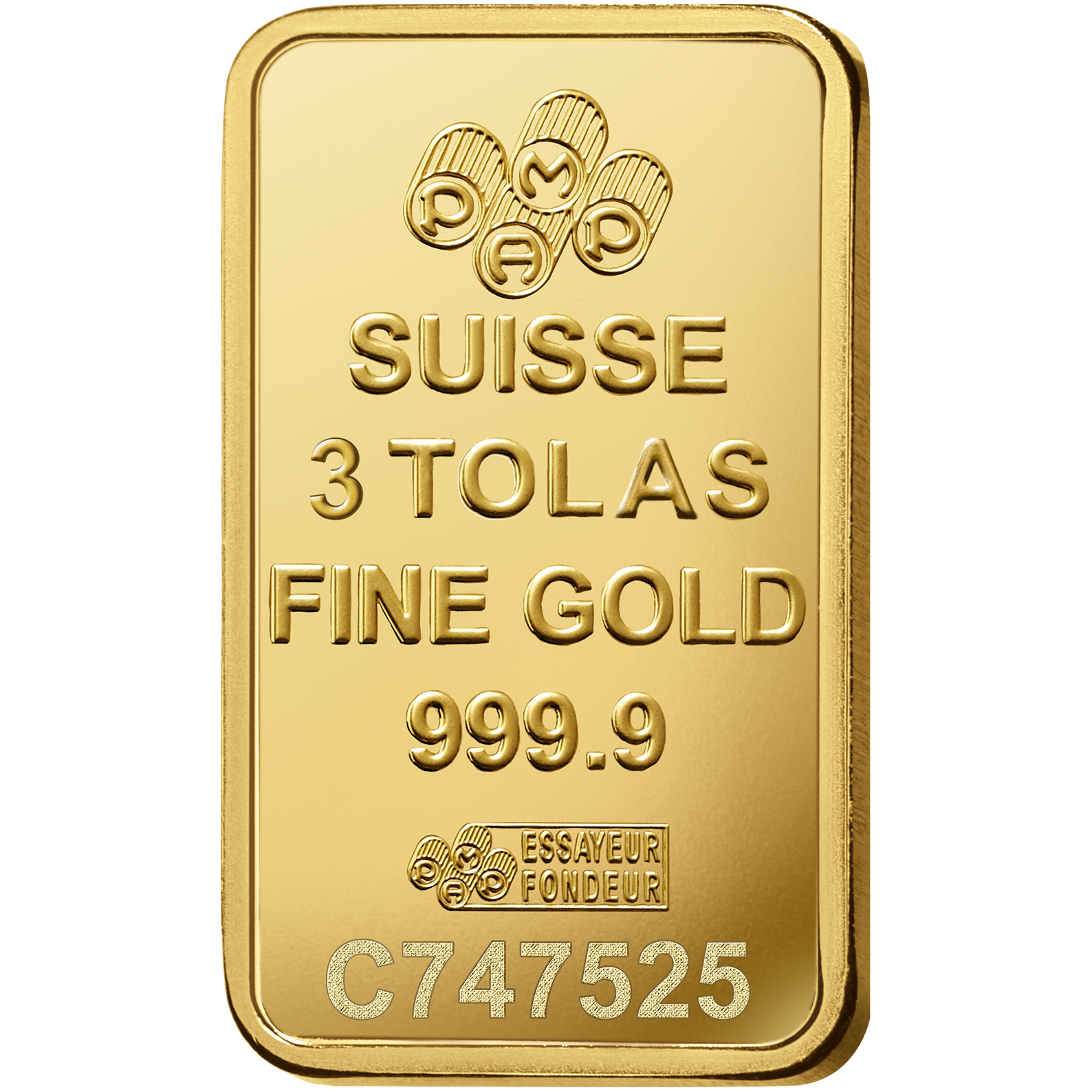 3 tolas lingotin d'or pur 999.9 - PAMP Suisse Lady Fortuna Veriscan