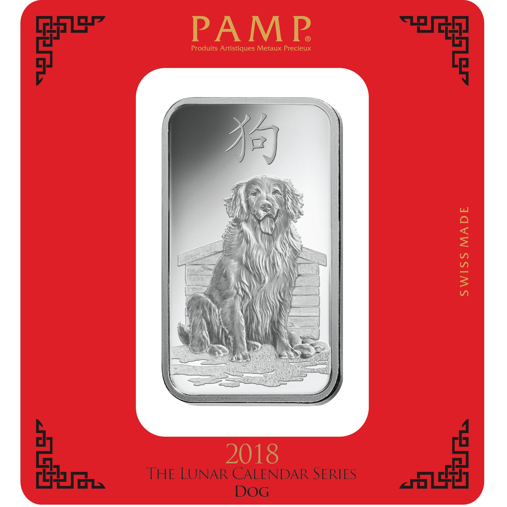 Lingot d'argent de 100 grammes - PAMP Suisse Lunar Chien